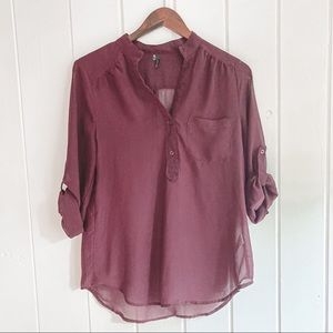 MAURICES Wine 3/4 Sleeve Sheer Blouse, Medium